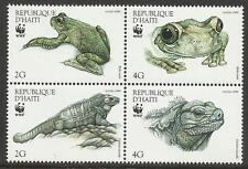 HAITI WWF WORLD WILDLIFE FUND 1999 IGUANA & TREE FROG 4v MNH