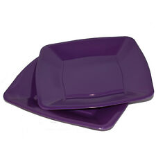 "30 x Purple Square Waved Side Plates Disposable Plastic 7""/18cm - Party Supplies"