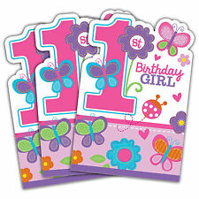 8 Sweet Pink Butterfly Girl's 1st Birthday Party Invitations plus Envelopes