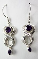 Sajen Amethyst Twist Wire Drop/Dangle Earrings Sterling Silver .925 Purple