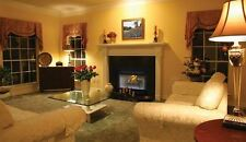 """36"""" Louvered Wood Burning Fireplace w/White Stacked Refractory Panels"""