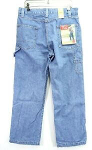 New Signature Levi Mens Relaxed Carpenter Work Cotton Denim Jeans 34 x 32