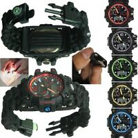 Red Water Resistant Men's Sport Watch Digital Military Paracord Quartz Compass