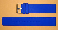 18mm Blue Silicon watch Band/Strap Flat  With a silver buckle