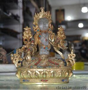 "9""Old Tibet Buddhism Natural Crystal Filigree Green tara Guanyin Kuanyin Statue"