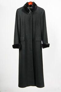 Albert Nipon Studio Womens Dress Coat Black Long Button Front Faux Fur Trim 4