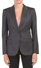 Theory Staple Women's Blazer Size 2 Black Pale Stripe Virgin Wool Jacket $595