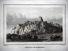 GRAVURE ANCIENNE 19e - LE CHATEAU DE DOMFRONT - ORNE
