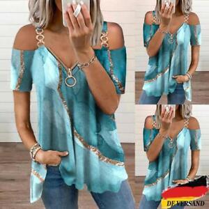 Damen Mode Schulterfrei V-Neck Sommer Printed T-Shirt Bluse Freizeit Tops Tunika