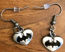 Batman Logo Silver Fishhook Earrings