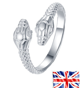 Rings 925 Silver Plated Adjustable Cool Snake Fashion For Women Men UK ,Free Bag