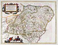Map Antique 1654 Scotland Blaeu Aberdeenshire Large Replica Canvas Art Print