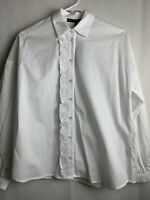 Womens Gibson White Blouse Small Long Sleeve Cotton Stretch NWT Ruffle 4689