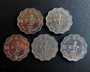 1975 Hong Kong, Queen Elizabeth II, Two Dollars Coin, Lot of 5