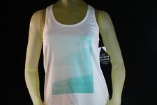 "ROXY WOMEN'S ""CUT BACK TANK 2"" WHITE FITNESS WORKOUT GYM RACER TANK Size Medium"