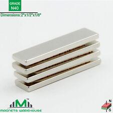 "4-count neodymium N40 NdFeb block magnets 2x1/2x1/8"" (true N40)"