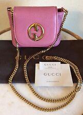 Gucci Pink Leather 1973 GG Handbag Interlocking G Chain Shoulder Crossbody Bag