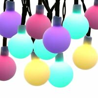 30  Rainbow Purple Globes Balls Fairy String 20Ft Solar Waterproof LED Lights