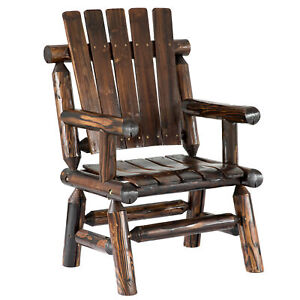 New Gardenised Pinewood Outdoor Weather Resistant Cabin Log Chair, Brown