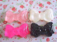 4 x Misto Glitter Fiocchi Flatback Resina Abbellimento artigianato Fiocchi Per Capelli Uk