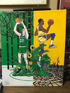 """Magic Johnson and Larry Bird Oil Painting on Canvass 20"""" x 24"""" #M&B01"""