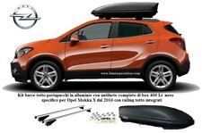 X OPEL MOKKA 2 Barre portapacchi + BOX BAULE TETTO 400 LT. nero dark specifico .