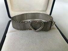 Tiffany & Co. Sterling Silver 925 Somerset mesh heart buckle adjustable bracelet