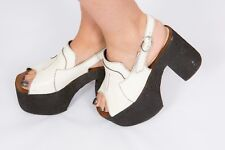 RARE 60s 70s vintage black & white leather platform heels open toe Glamrock boho