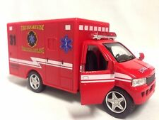 "Rescue Team, Fire Department, Paramedic Ambulance, 5"" Diecast Pull Back Toy Red"