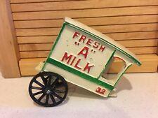 """Antique Decorative Metal Die-Cast Toy """"Fresh Milk"""" Wagon - Unmarked - No Horse"""