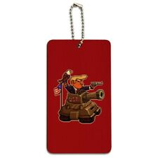 Patriotic Pixel Trump in Tank with American Eagle Flag Wood Luggage ID Tag