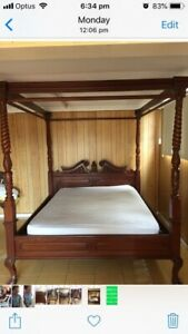 ROYAL STYLE 4 POST ANTIQUE STYLE BED WITH FREE MATTRESS QUALITY CARVED DESIGN