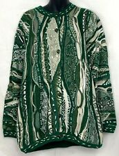 Coogi Australia Womens Cardigan Sweater Mercerized Cotton Green Beige Texture M