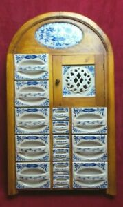 Rare Antique Large Blue White Apothecary Cabinet ~ Spice Rack Hanging Standing