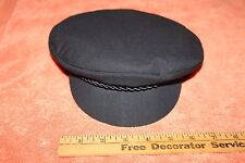 Vintage Navy Blue Cap Hat with Red Interior Lining Elbsegler size 7 1/8