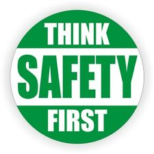 Think Safety First Hard Hat Decal | Label Helmet Sticker Safe Worker Laborer