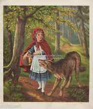 Little Red Riding Hood-Wolf-Woods-Cape-Fairy Tale-1870 ANTIQUE ART PRINT-Picture