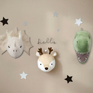 3D Felt Wall Hanging Dinosaur Head Doll Stuffed Plush Toys Children's Room Decor