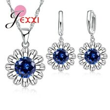 925 Sterling Silver Sunflower Blue Cubic Zirconia Crystal Necklace Earring Set