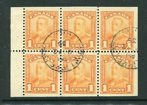 CANADA Scott 149a - USED - 1¢ Orange Scroll Issue Booklet Pane of 6 (.033)