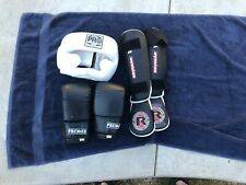 Youth Karate Sparring Gear SET SHIN GUARDS BOXING GLOVES PRO HEADGEAR PREMIER