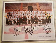 RAY BOURQUE + MIKE MOFFATT & VICENT RIENDEAU team signed 8 x 10 Bruins photo HOF