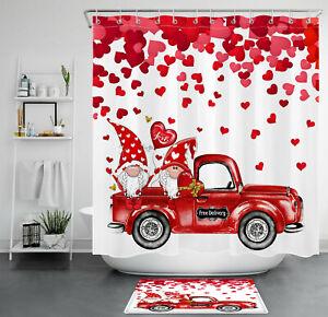 Valentine's Day Red Retro Truck Gnomes Hearts Shower Curtain Set Bathroom Decor