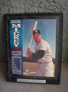 "MICKEY MANTLE 10"" x 13"" Black Wood Plaque New York Yankees Baseball Hall of Fame"