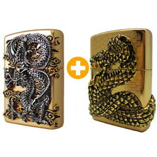 Zippo Flying Dragon GD + Snake Coil GD Lighter 2P Org Packing 6 Flints Free GIFT