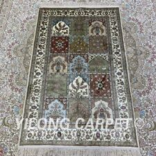 YILONG 2.5'x4' Garden Scene Handknotted Silk Carpet Traditional Area Rug H176B