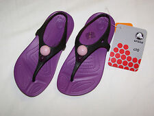 NWT CROCS Girls Aliana Violet Flip Flops Sandals C 10 C10 Purple Black Shoe  $40