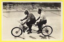 cpa Très Rare SPORTS CYCLISME Roger DERNY et Fils sur CYCLOTANDEM Motorisé