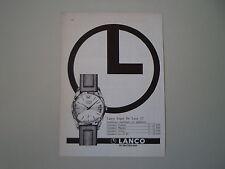 advertising Pubblicità 1965 OROLOGIO LANCO SUPER DE LUXE 17