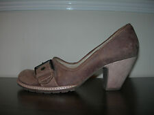 CLARKS WOMEN'S COURT SHOES BROWN LEATHER NUBUCK WOODEN HEELS EU SIZE 41 / UK 7